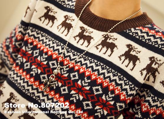 Вязанный свитер с оленями для мужчин  - 5