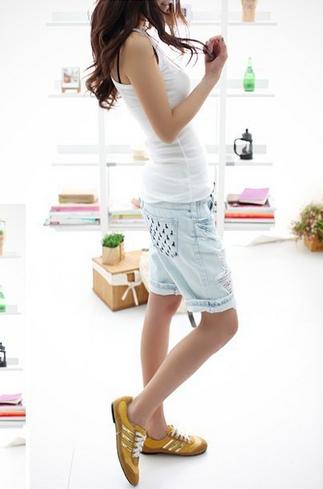 Вышитые карманы джинсы с короткие для женщин - 1