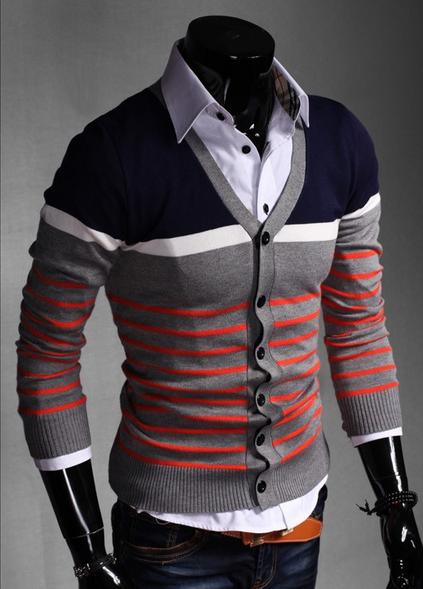 Стильный свитер с длинным рукавом для мужчин  - 1