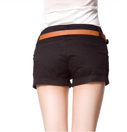 Летние короткие шорты с поясом для женщин  - 6