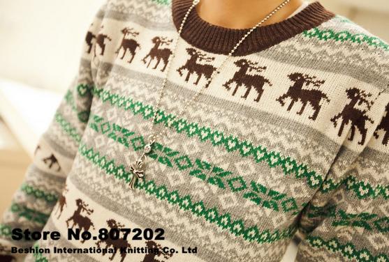 Вязанный свитер с оленями для мужчин  - 7