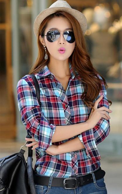 Весенняя рубашка для женщин с длинным рукавом  - 2