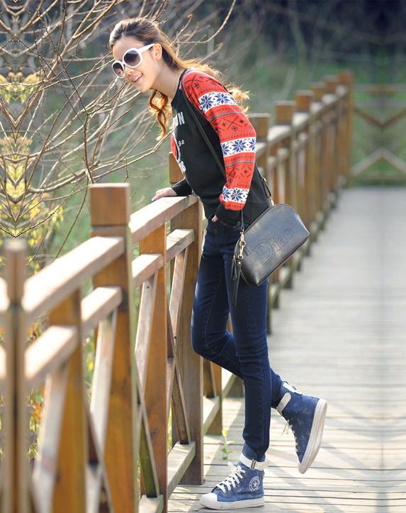Упругие с высокой талией джинсы для женщин  - 6