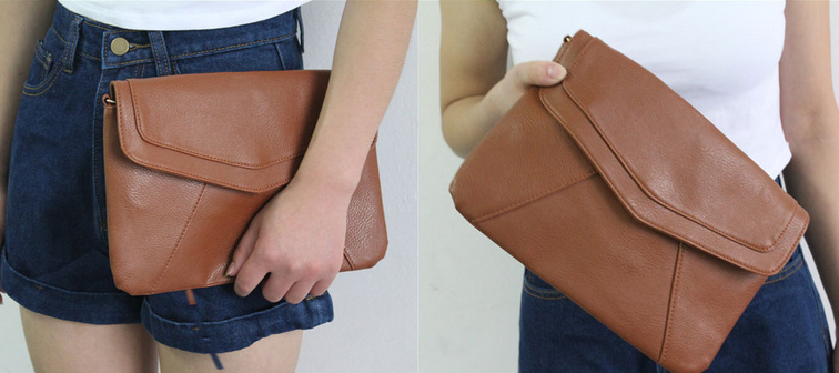 Модная кожаная сумка через плечо для женщин  - 1