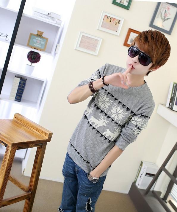 Модная осень, тонкий свитер для мужчин  - 1