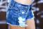 Сплошной синий цвет, тонкие шорты для женщин  - 4