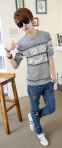 Модная осень, тонкий свитер для мужчин  - 8