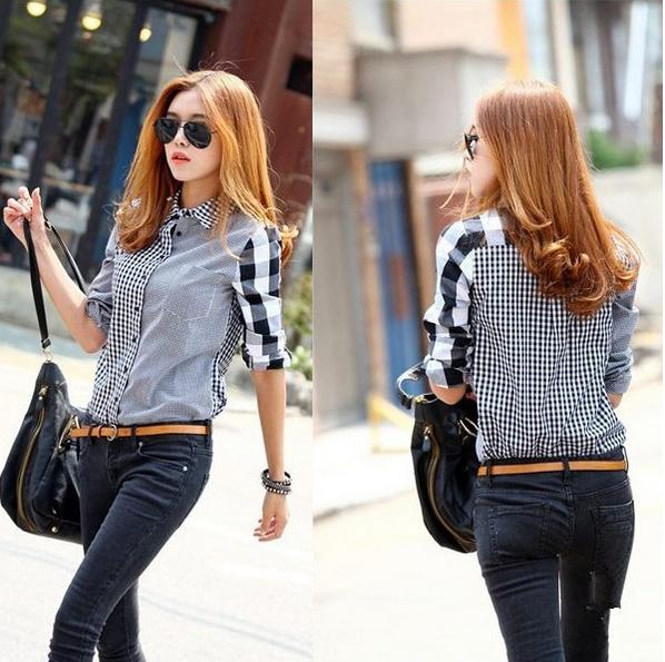 Асимметричная рубашка с длинными рукавами для женщин
