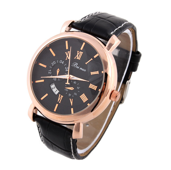 Beinuo пу кожа часы для мужчин мода кварцевые часы из розового золота с календарь свободного покроя наручные часы новые 2015 акции