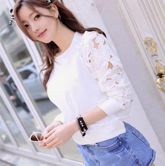 Белая женская блузка в кружева для женщин