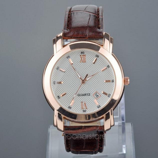 Водонепроницаемый сплава кварцевые наручные часы с пу кожаный ремешок и календарь для мужчин M * MPJ584 # A1