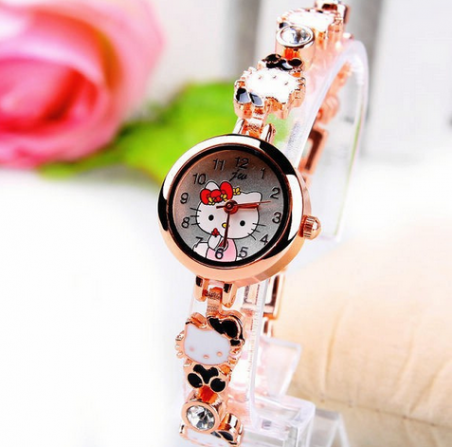 Роуз золотой браслеты часы симпатичные привет китти мультфильм часы для девочек женщины мода платье наручные часы подарки