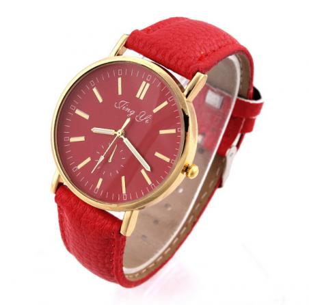 2014 новинка часы из розового золота круглый стекло кварцевые наручные часы аналоговые красный PU группа сплава женщин часы горячие акции