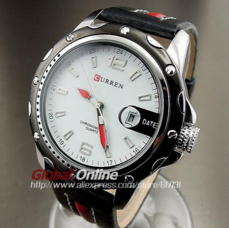 2014 последний тип Curren круглый циферблат аналоговые часы с кожаным ремешком и отображения данных. Спортивные мужские часы. Бесплатная доставка