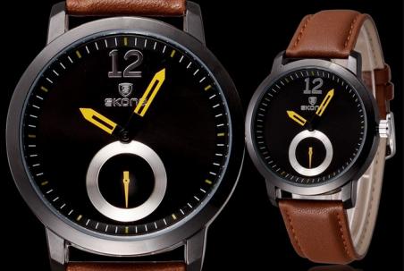 Relogio Masculino марка Skone свободного покроя часы кварта аналоговый PU кожаный ремешок Relojes краткое элегантный часы мужской второй диск