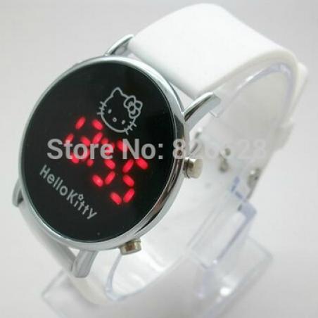Электронные 2014 новинка бренд дети цифровые часы мужчин женщин платье часы силикон из светодиодов привет котенок мультфильм часы горячая