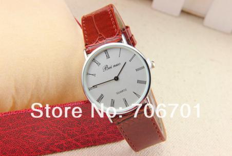 8 цветов новое поступление модные часы искусственная кожа мужские часы бей nuo мужчины кварцевые часы 1 шт./лот